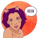 Portrait d'une fille avec des oreilles de chat illustration de vecteur