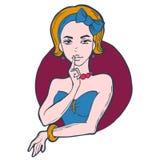 Portrait d'une fille avec l'arc bleu illustration stock