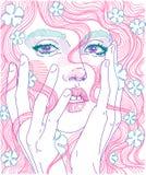 portrait d'une fille avec les cheveux roses Photographie stock libre de droits