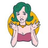 Portrait d'une fille avec les cheveux verts illustration libre de droits