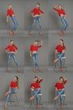 Portrait d'une fille dans un sweter rouge et des jeans, collage Image stock