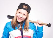 Portrait d'une fille de l'adolescence avec la batte Image libre de droits