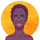 Portrait d'une fille de sourire d'Afro-américain illustration stock