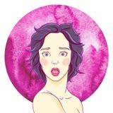 Portrait d'une fille effrayée illustration stock