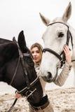 Portrait d'une fille entre deux chevaux Image stock