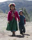 Portrait d'une fille péruvienne indigène et de son dresse de petit frère image libre de droits