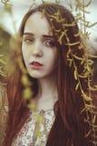 Portrait d'une fille romantique avec les cheveux rouges dans le vent sous un saule images stock