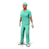 Portrait d'une illustration mûre sûre de docteur Isolated On White 3D Image stock