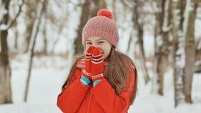 Portrait d'une jeune écolière avec des taches de rousseur dans les bois en hiver Il chauffe ses mains dans des mitaines et les ap images stock