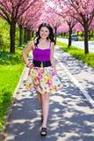 Portrait d'une jeune dame de brune marchant en parc de ressort Photographie stock libre de droits