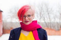 Portrait d'une jeune femme attirante avec les cheveux colorés et de la perforation sous sa lèvre Verres, perforations, cheveux mu image libre de droits