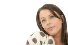 Portrait d'une jeune femme attirante rêveuse innocente douce rêvassant Photo libre de droits