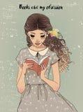Portrait d'une jeune femme avec le livre illustration libre de droits