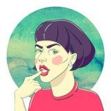 Portrait d'une jeune fille illustration de vecteur