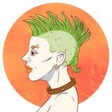 Portrait d'une jeune fille avec la coiffure et les perforations de Mohawk illustration libre de droits