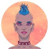 Portrait d'une jeune fille avec la coiffure et les perforations de Mohawk sur le fond illustration libre de droits