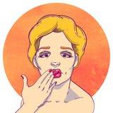 Portrait d'une jeune fille blonde illustration de vecteur