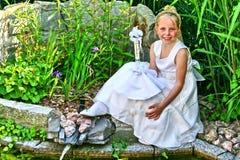 Portrait d'une jeune fille, célébration religieuse Image libre de droits