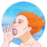 Portrait d'une jeune fille criarde avec les cheveux ébouriffés illustration libre de droits