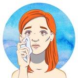 Portrait d'une jeune fille pleurante avec les cheveux et le mouchoir de gingembre illustration de vecteur