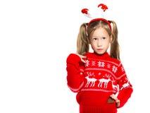 Portrait d'une petite fille dans un costume de Noël Photo libre de droits