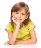 Portrait d'une petite fille songeuse photographie stock