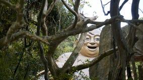 Portrait d'une pierre chinoise de statue d'un dieu photo libre de droits