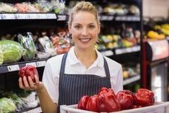 Portrait d'une prise blonde de sourire de travailleur légumes Photo libre de droits