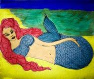 Portrait d'une sirène dans une plage au crépuscule illustration libre de droits