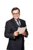 Portrait d'une utilisation de sourire d'homme d'affaires mûres Photographie stock libre de droits