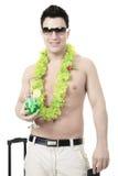 Portrait d'une valise d'homme tenant un passeport Photo libre de droits