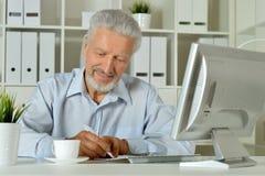 Portrait d'une vieille femme d'affaires à l'aide de l'ordinateur portable Images libres de droits