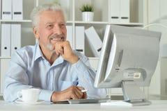 Portrait d'une vieille femme d'affaires à l'aide de l'ordinateur portable Photo stock