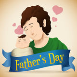 Portrait of Dad and Baby with Ribbon for Father's Day, Vector Illustration. Loving dad with his newborn baby behind a blue greeting ribbon commemorating Father's stock illustration