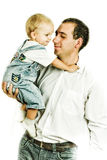 Portrait of dad and son. At the hands Stock Images