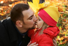 Portrait of the daddy and daughter Royalty Free Stock Photo