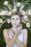 Portrait with daisies Stock Images
