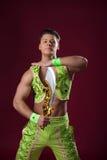 Portrait of dancer posing in oriental costume Stock Photography