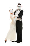 Portrait of dancing couple of mimes Royalty Free Stock Image