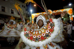Portrait of dancing female carnival reveler Stock Image