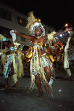 Portrait of dancing female carnival reveler Stock Photos