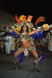 Portrait of dancing female carnival reveler Stock Photo