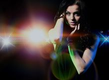 Portrait of dancing girl on disco party. Royalty Free Stock Photos