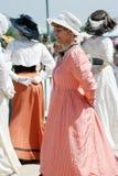 Portrait of dancing women in historical costumes. Stock Photos