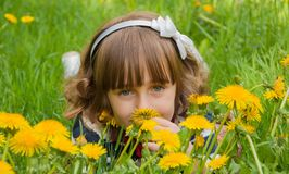Portrait with dandelions Royalty Free Stock Photo