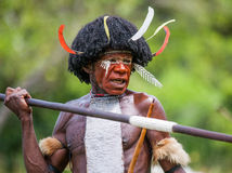 Portrait of Dani tribe in a beautiful headdress made of feathers. Stock Photos
