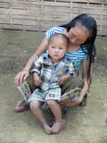 Portrait dans une tribu laotienne. Photo stock