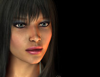 Portrait of a dark-haired woman. 3D Rendering  Portrait of a dark-haired woman Stock Image