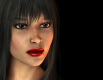 Portrait of dark haired woman with red lipstick. 3D Rendering Portrait of dark haired woman with red lipstick Stock Photo