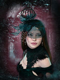 Portrait of a dark romantic Lady, 3d CG Stock Images
